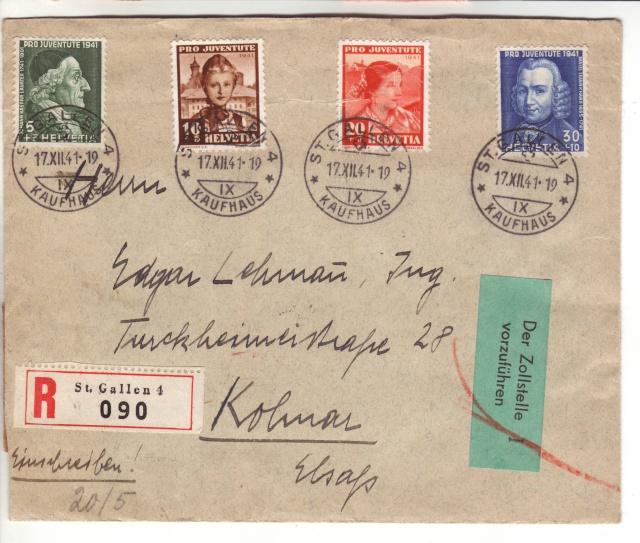 """Etiquettes vertes """"à présenter à la douane"""" sur courrier vers le Reich. 41_12_10"""