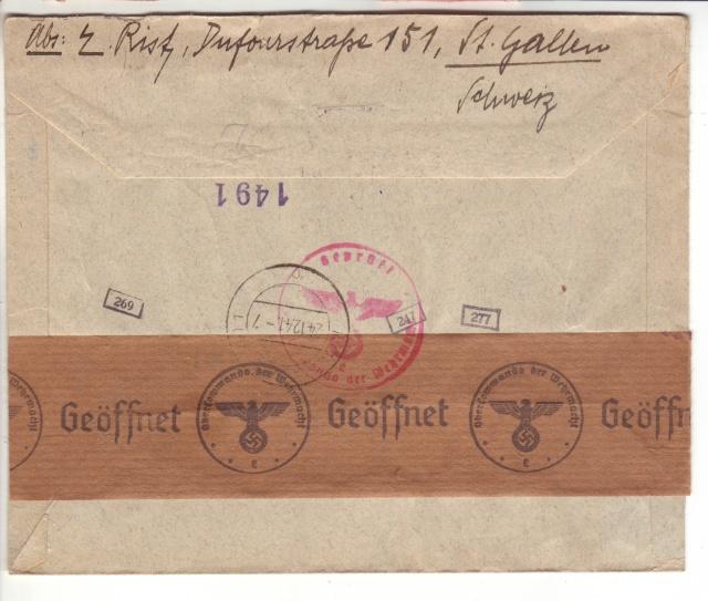 """Etiquettes vertes """"à présenter à la douane"""" sur courrier vers le Reich. 41_12_11"""