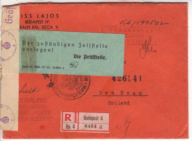 """Etiquettes vertes """"à présenter à la douane"""" sur courrier vers le Reich. 43_03_10"""