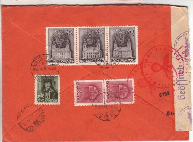 """Etiquettes vertes """"à présenter à la douane"""" sur courrier vers le Reich. 43_03_11"""