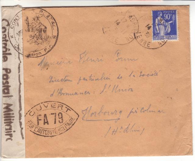 Drôle d'acheminen postal: lettre de Montmorillon (Vienne) pour Horbourg (Ht. Rhin) censurée à Metz 5002110