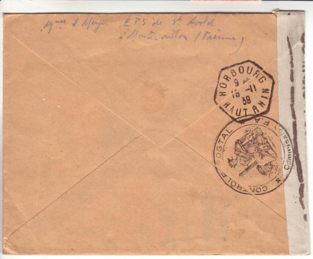 Drôle d'acheminen postal: lettre de Montmorillon (Vienne) pour Horbourg (Ht. Rhin) censurée à Metz 6000710
