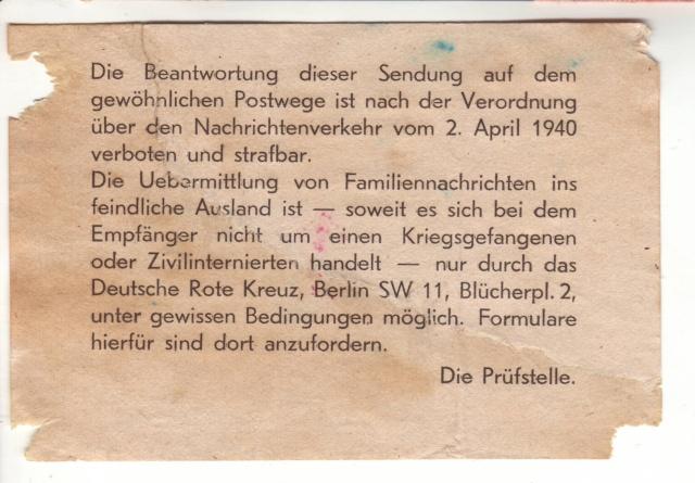 Etiquette indiquant la marche à suivre pour les correspondances familliales entre le Reich et un pays ennemi.  6001410