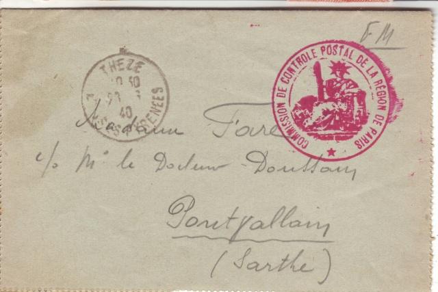 """Cachet """"Commission de Contrôle Postal de la Région de Paris"""" 8001710"""