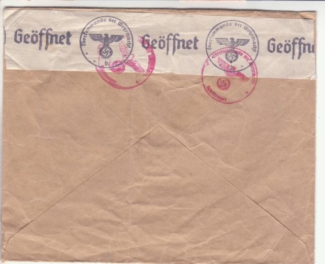 """Etiquettes vertes """"à présenter à la douane"""" sur courrier vers le Reich. _2002210"""