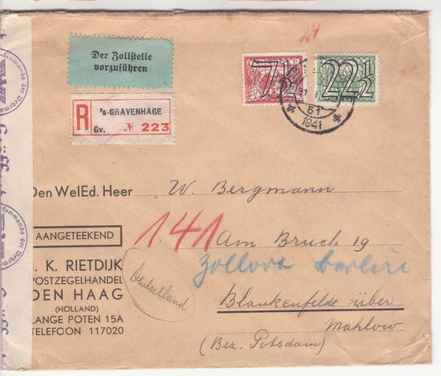 """Etiquettes vertes """"à présenter à la douane"""" sur courrier vers le Reich. _3001910"""