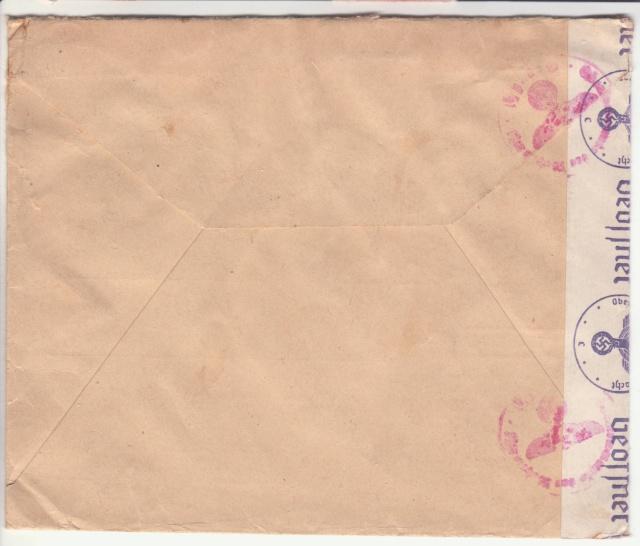 """Etiquettes vertes """"à présenter à la douane"""" sur courrier vers le Reich. _4002010"""