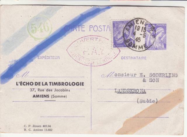 Trace de contrôle chimique sur entiers postaux. _7001210