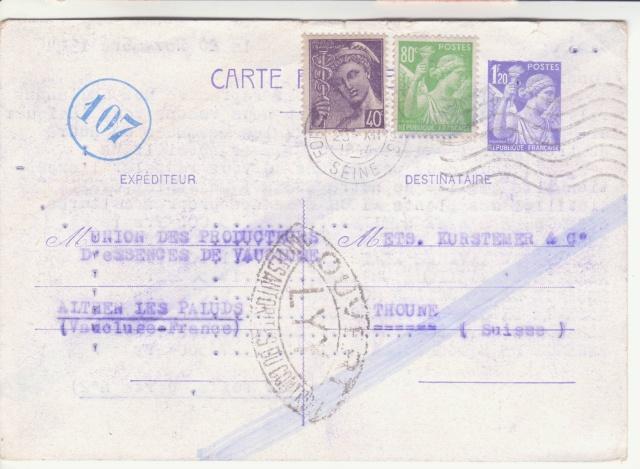 Trace de contrôle chimique sur entiers postaux. _9000710