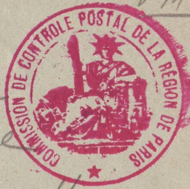 """Cachet """"Commission de Contrôle Postal de la Région de Paris"""" Ccp_pa10"""
