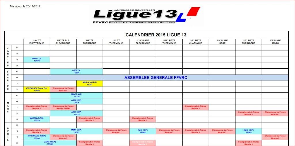 Calendrier PROVISOIRE ligue 13 , saison 2015 Course13