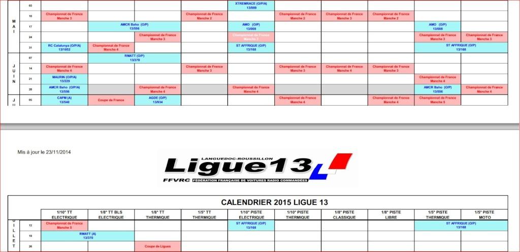 Calendrier PROVISOIRE ligue 13 , saison 2015 Course14