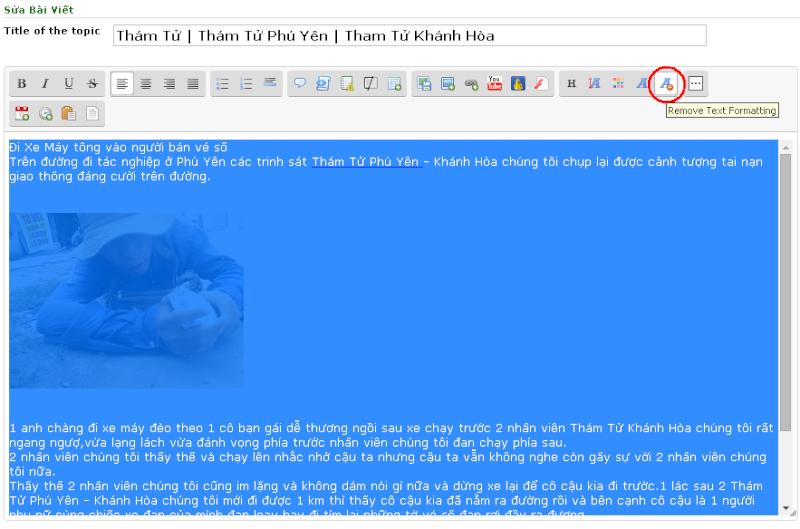 Hướng dẫn loại bỏ lỗi text khi viết bài mới trên diễn đàn rao vặt 410