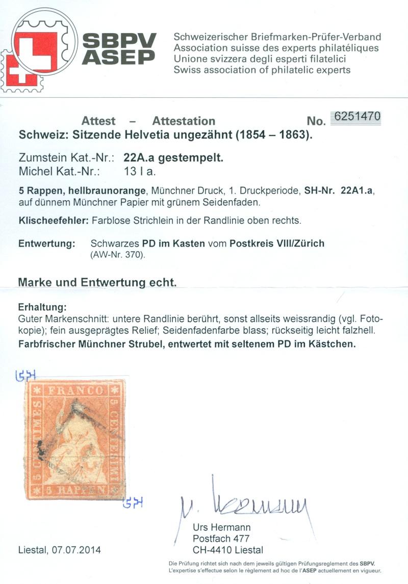 """Schweiz 1854-1863 """"Strubel"""" Sitzende Helvetia Ungezähnt Strube11"""