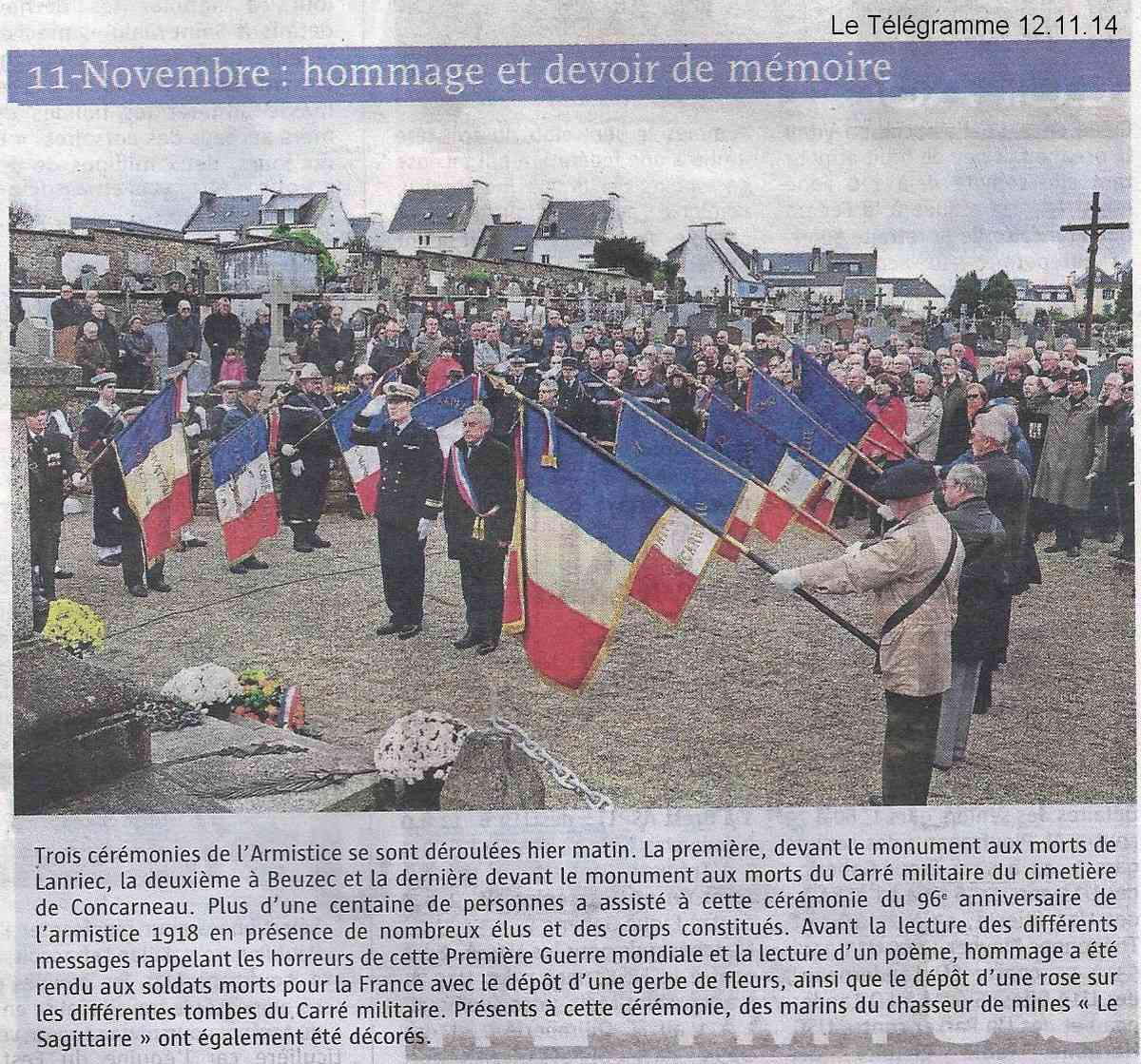 Cérémonie du 11 Novembre 2014 à Fouesnant les Glénan avec la Marine Nationale Scan1410