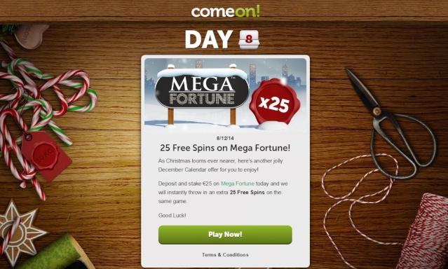 ComeOn Casino Christmas Calendar 8th December 2014 Comeon17