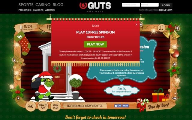 Guts Casino Christmas Calendar 8th December 2014 Guts_c14