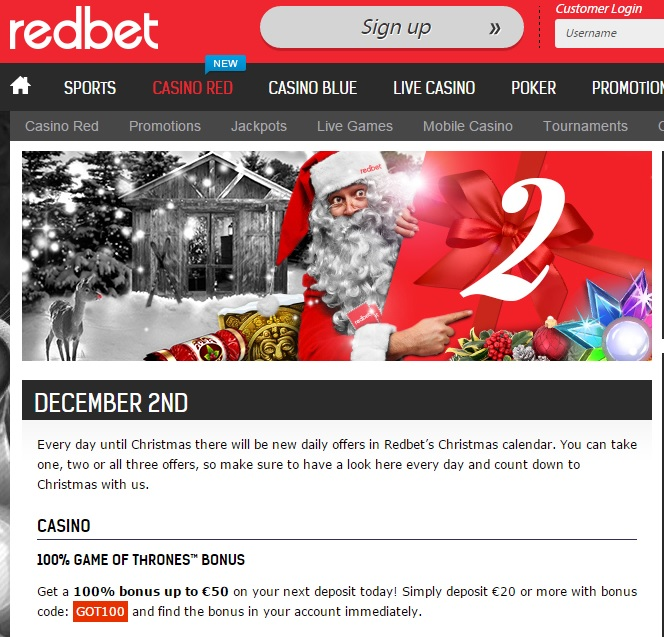 Redbet Casino Christmas Calendar 2nd December 2014 Redbet10