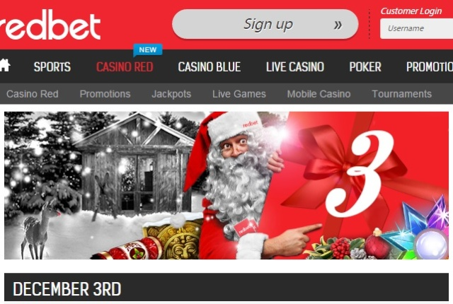 Redbet Casino Christmas Calendar 3rd December 2014 Redbet11