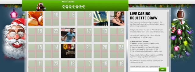 Unibet Christmas Calendar 5th December 2014 Unibet13