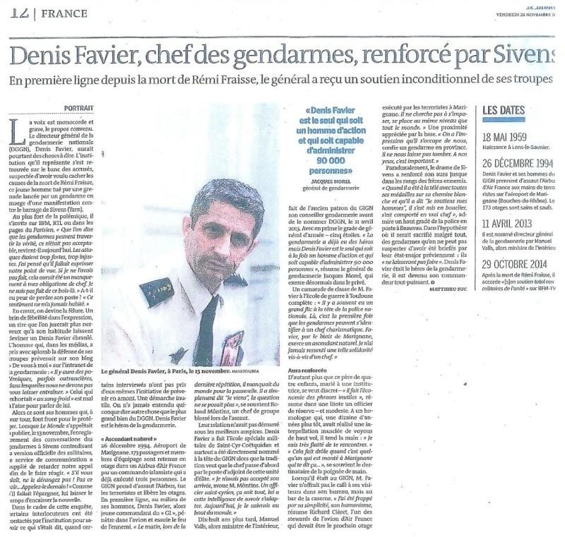 Denis FAVIER patron des gednarmes s'exprime Numyri13