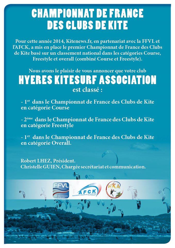 Hyères kitesurf Association Champion de France des clubs de kite 10750010