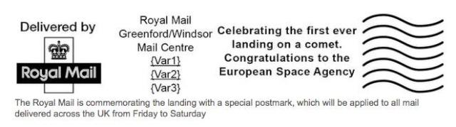 [Atterrissage Philae] Mise en service d'une flamme postale temporaire par le Royal Mail Philae11
