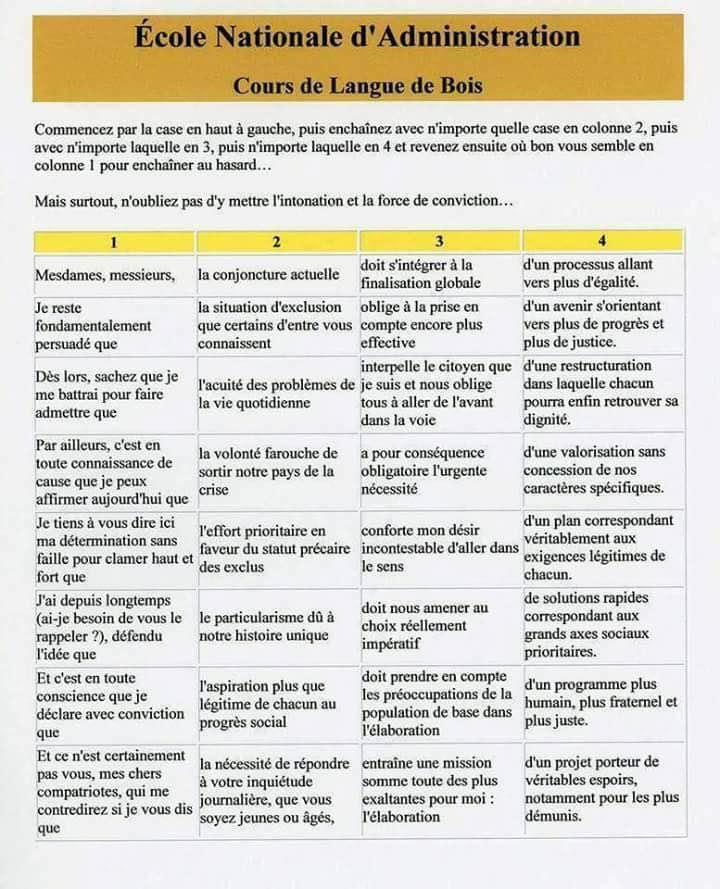 La langue de bois par l'exemple Ldb10