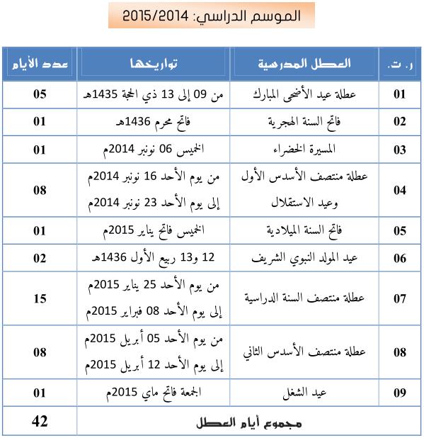 جدول العطل المدرسية 2014-2015 Sans_t10