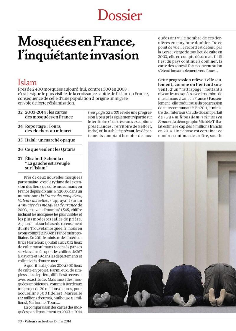 Que font nos politiciens: la une de VALEURS ACTUELLES mai 2014...L'INVASION DES MOSQUEES...deux nouvelles constructions par semaine! Invasi11