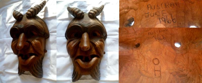 1966 hand carved devil imp mask Amask10