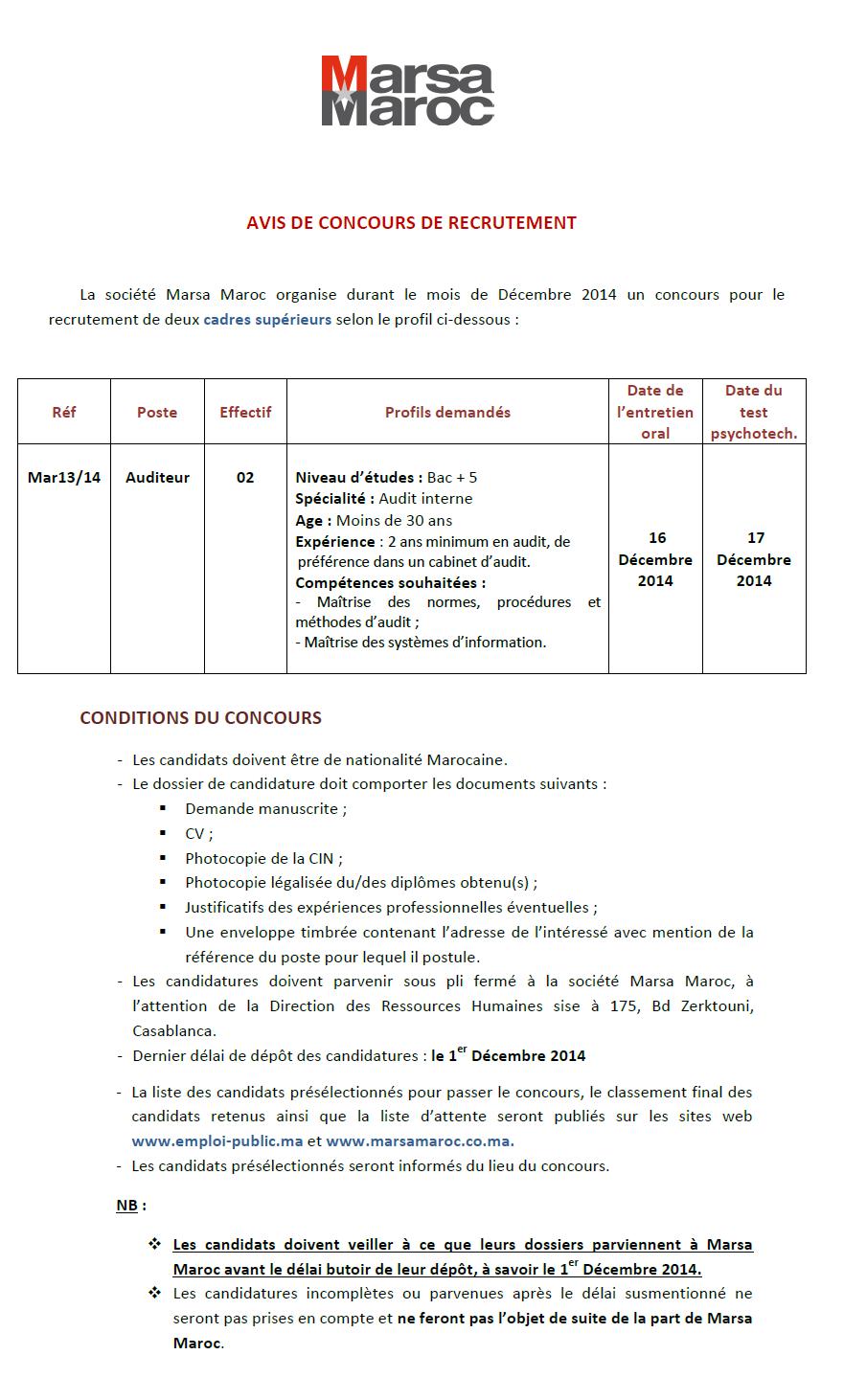 شركة استغلال المونئ (مرسى ماروك) : مباراة لتوظيف مدقق Auditeur (2 منصبان) آخر أجل لإيداع الترشيحات 1 دجنبر 2014 Concou17