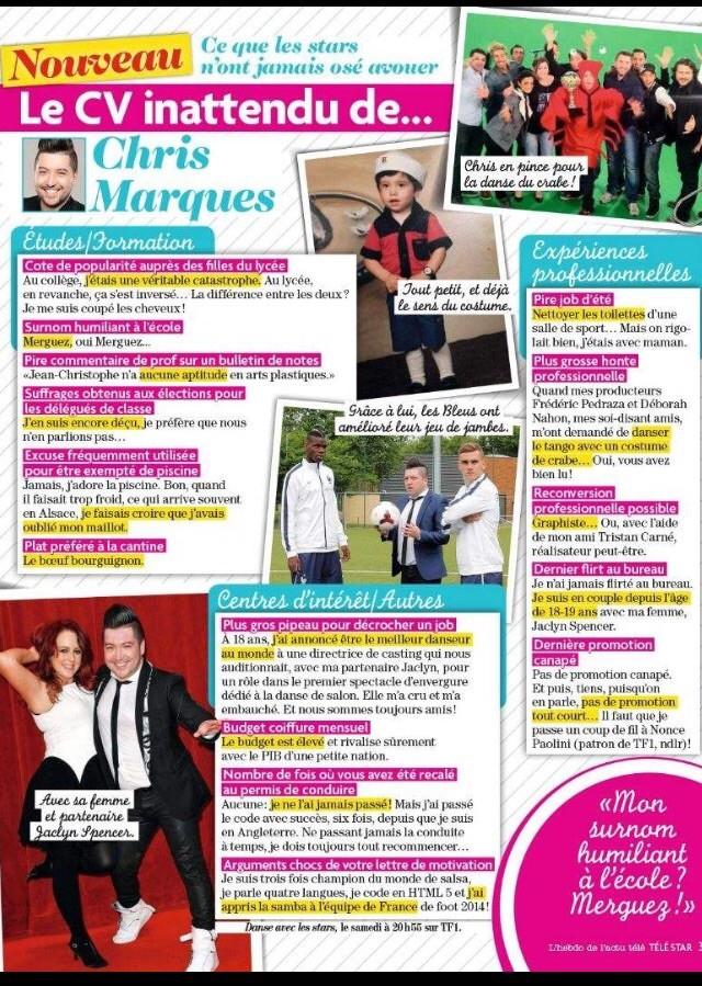 """[TELESTAR] 22-28 novembre 2014 """"Le CV inattendu de Chris Marques"""" Image23"""