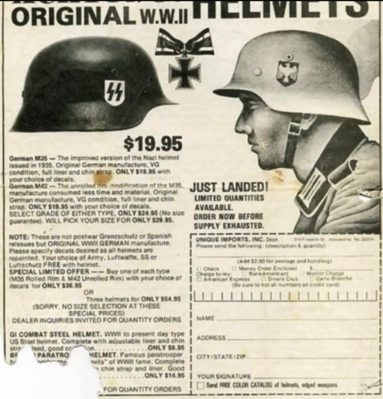 19 $ le casque SS authentique 48506010