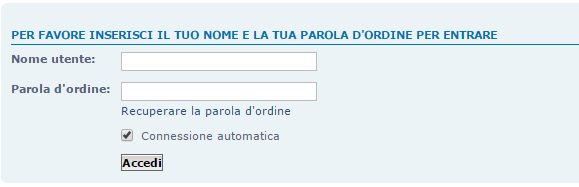 Hai dimenticato o perso la tua password? Caso110