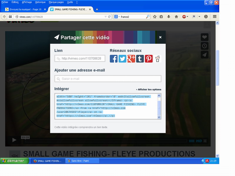 Poster une Video Vimeo direct sur le forum Copier10