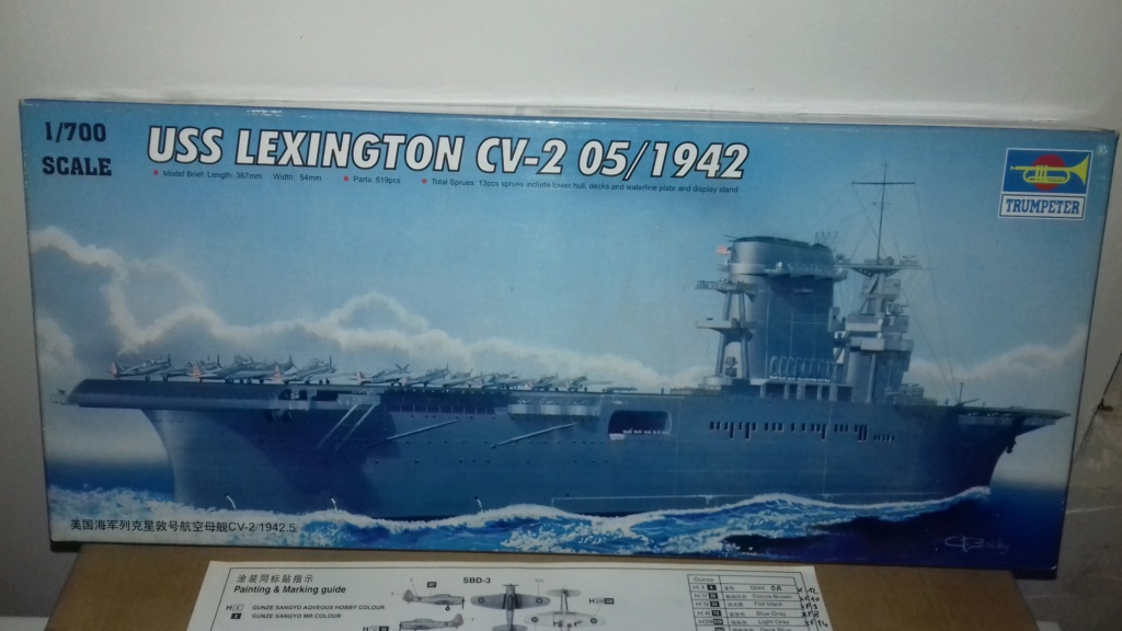 PORTE AVIONS USS LEXINGTON 05/1942  TRUMPETER  1/700 20181028