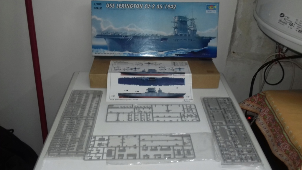 PORTE AVIONS USS LEXINGTON 05/1942  TRUMPETER  1/700 20181029