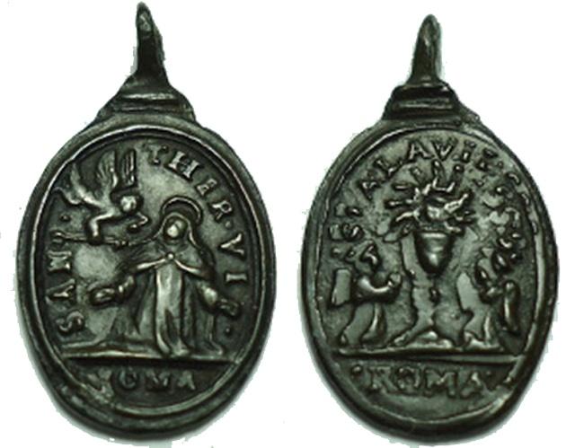 teresa - Medalla Transverberación de Santa Teresa / Santísimo Sacramento (R.M. SXVII-O360) 2ql4sp10