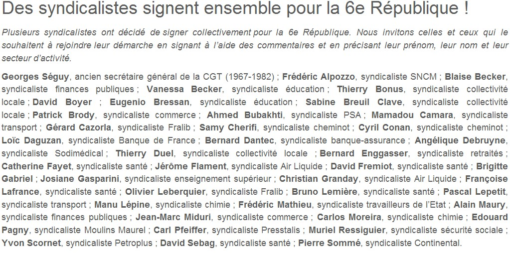 Je signe pour la 6e République + Déclaration de Marie George Buffet + Diverses signatures et appels (politiques, associatifs, intellectuels), signatures collectives (Socialistes affligés, militants PCF, Nouvelle Donne, syndicalistes)  Des_sy10