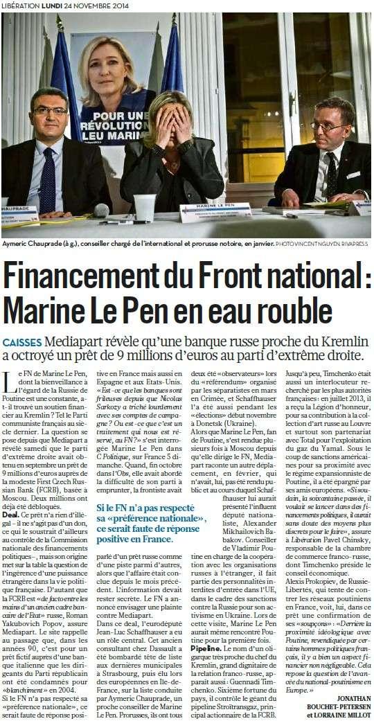 Marine Le Pen décroche les millions russes + Le salut fasciste de l'argentier de Marine Le Pen + Au FN, rien ne change + Front National : l'insulte aux Lyonnais (Parti de Gauche) + Discours social du Front National : la grande escroquerie (Humanité) Financ10