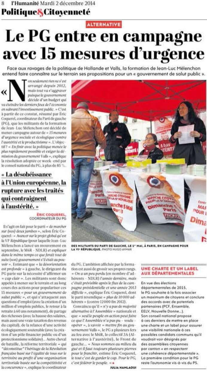 15 mesures d'urgence sociale et écologique contre l'austérité et le productivisme (Parti de Gauche) + Le PG entre en campagne avec 15 mesures d'urgence (Humanité) Le_pg_10