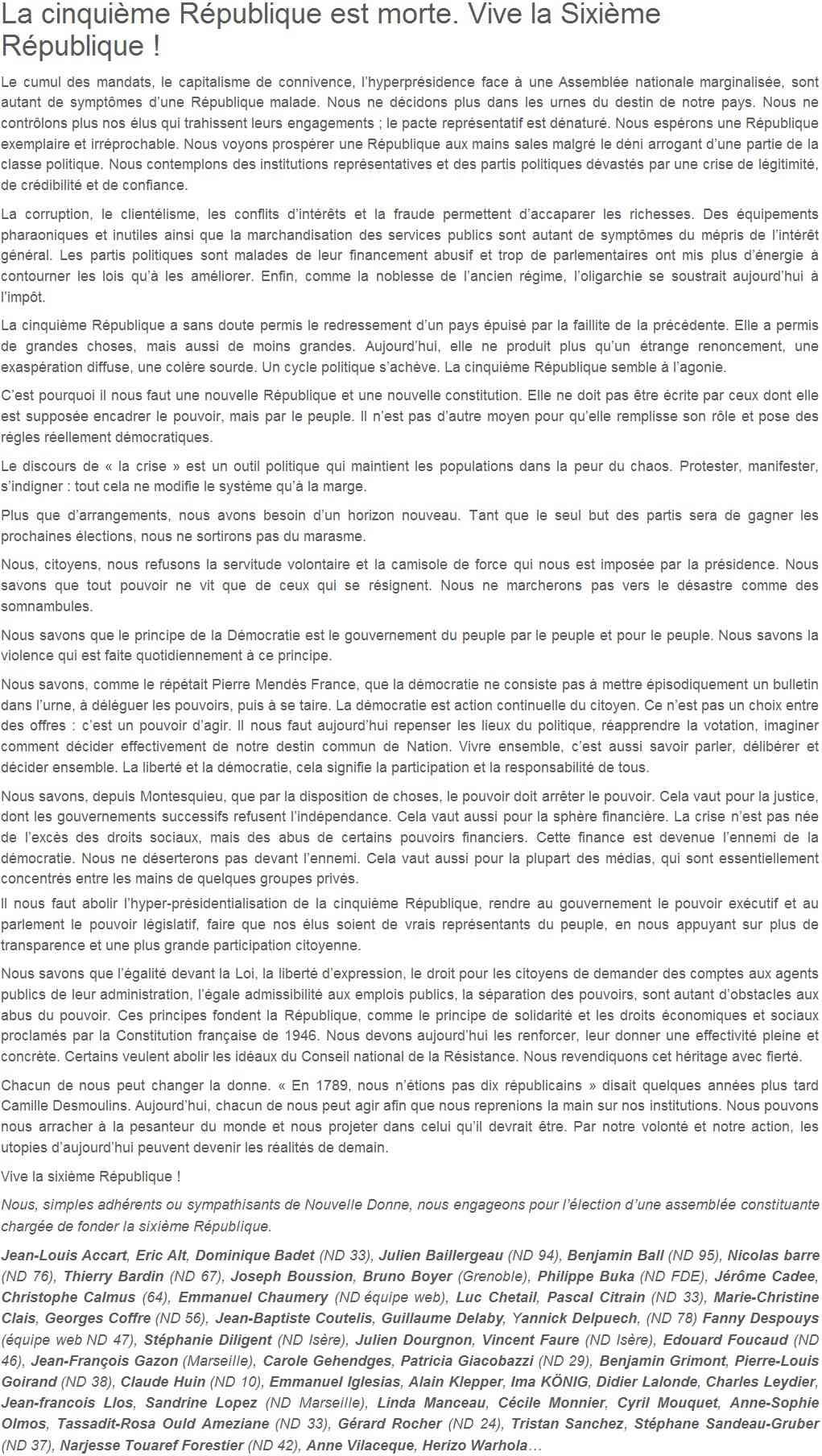 Je signe pour la 6e République + Déclaration de Marie George Buffet + Diverses signatures et appels (politiques, associatifs, intellectuels), signatures collectives (Socialistes affligés, militants PCF, Nouvelle Donne, syndicalistes)  Nouvel10