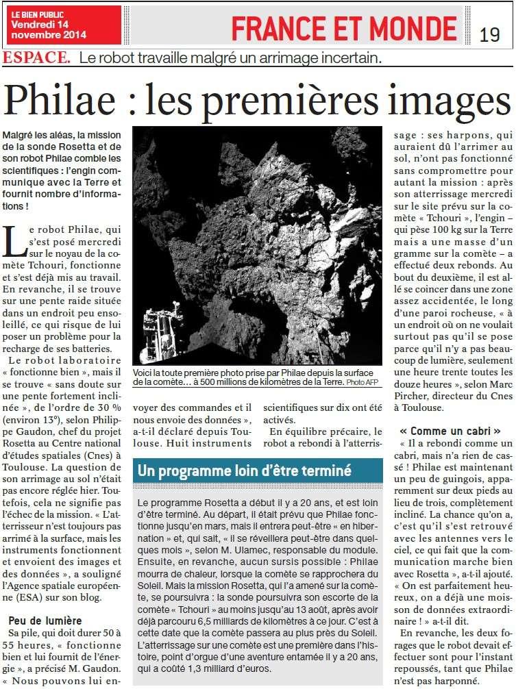 Rendez-vous historique dans l'espace (Parisien) + Philae : les premières images + Un repos bien mérité (Bien Public) Philae10