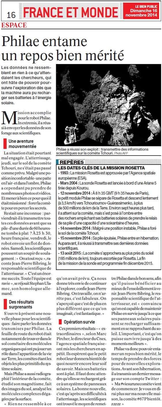 Rendez-vous historique dans l'espace (Parisien) + Philae : les premières images + Un repos bien mérité (Bien Public) Repos_10