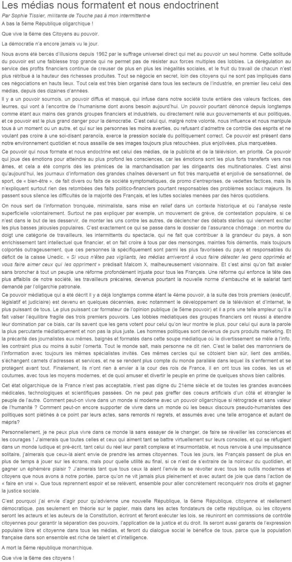 Je signe pour la 6e République + Déclaration de Marie George Buffet + Diverses signatures et appels (politiques, associatifs, intellectuels), signatures collectives (Socialistes affligés, militants PCF, Nouvelle Donne, syndicalistes)  Sophie10