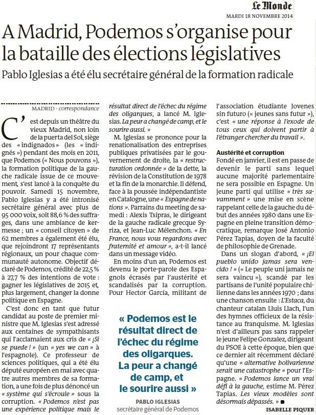 Podemos : une nouvelle force citoyenne est née en Espagne qui fait peur à la caste au pouvoir (Martine Billard) + À Madrid, Podemos s'organise pour la bataille des élections législatives (Le Monde) Ye_mad10