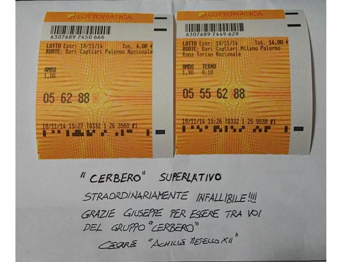 GIUSEPPE CHIARAMIDA | #CERBERO - AMBO MILIONARIO 62-88 SU NAZIONALE Diapos19