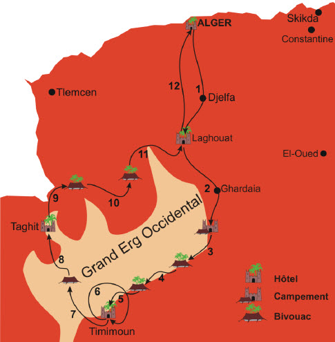 ALGERIE - Raid en Algérie  Carte10