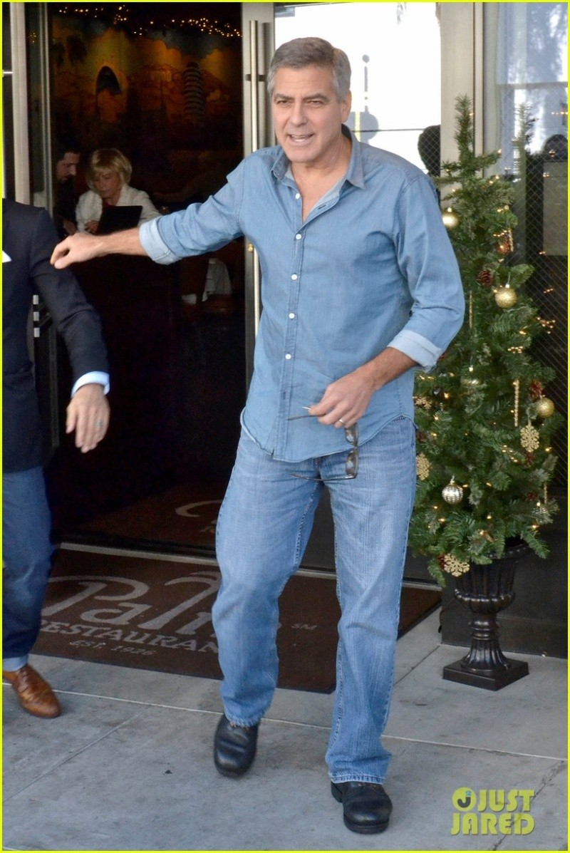 George Clooney and his friend Grant Heslov leaving The Palms restaurant in Beverly Hills… New310